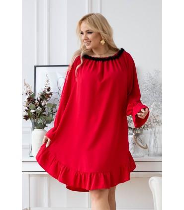 Czerwona sukienka hiszpanka z czarną falbanką przy dekolcie - RENEL