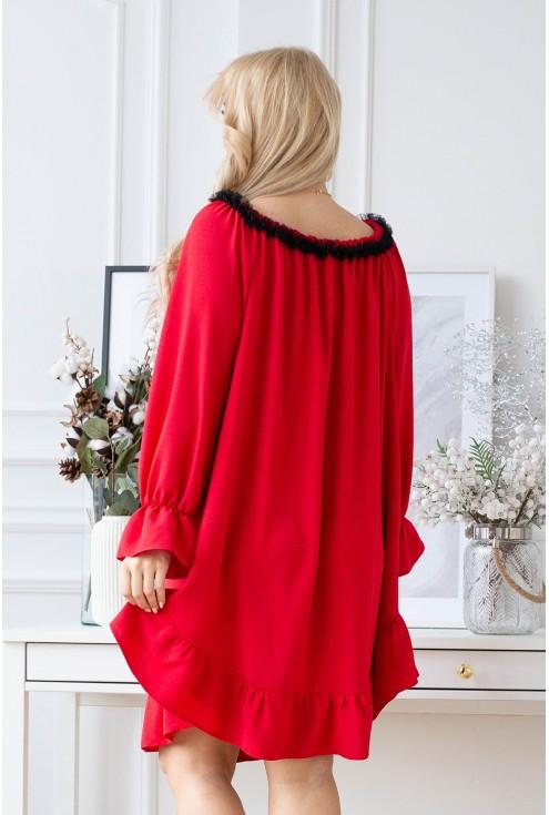 Czerwona sukienka xxl z falbanką