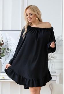 Czarna sukienka hiszpanka z  falbanką przy dekolcie
