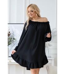 Czarna sukienka hiszpanka z czarną falbanką przy dekolcie - RENEL