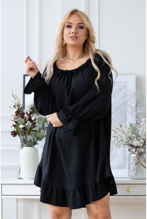 sukienka hiszpanka z czarną falbanką przy dekolcie