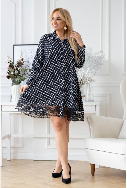 czarna sukienka plus size w modny biały wzór