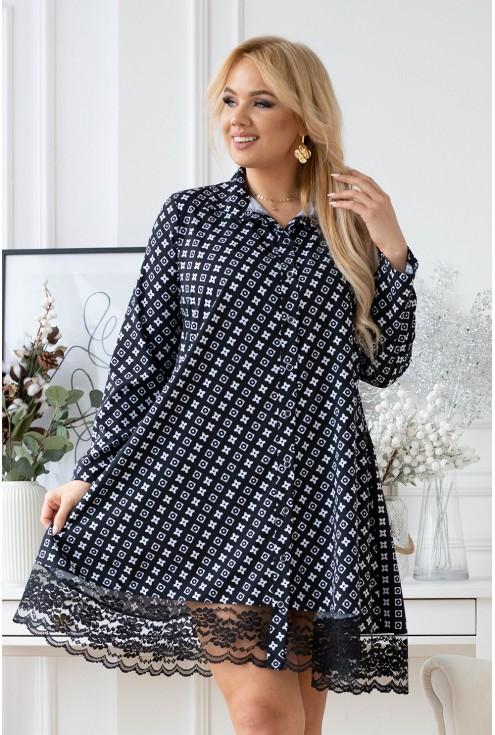 czarna koszula/sukienka z białym wzorem xxl