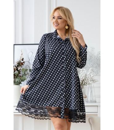 Czarna koszula-sukienka z białym wzorem - LANEL