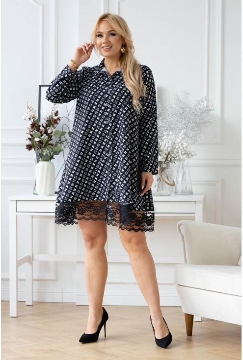 czarna sukienka w biały wzorek xxl
