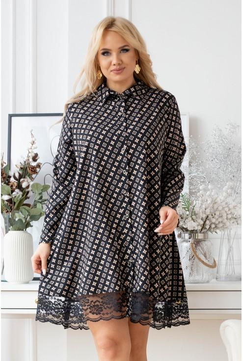 czarna koszula/sukienka z modnym beżowym wzorem