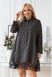 czarna sukienka xxl w modny beżowy wzorek