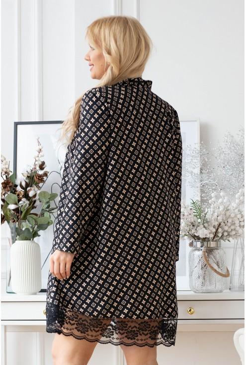 Czarna koszula-sukienka z beżowym wzorem - LANEL