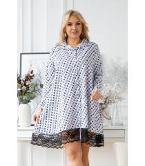 Biała koszula-sukienka z czarnym wzorem - LANEL