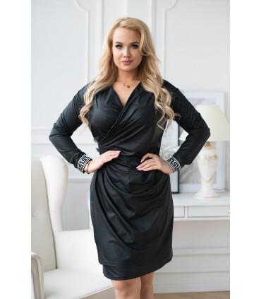Czarna sukienka w czarne cętki z lampasem - PALIMA