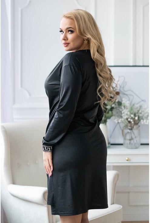 sukienka w czarne cętki z lampasem