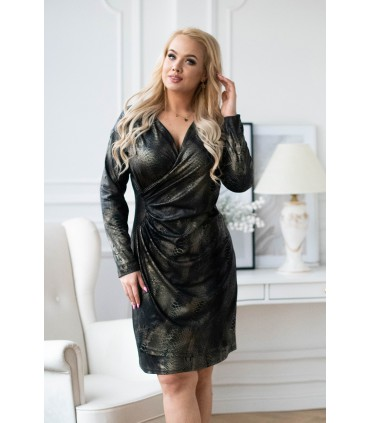 Czarna sukienka ze złotym wężowym wzorem - PALIMA