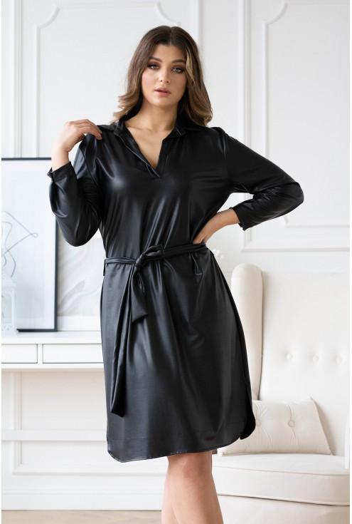 Czarna sukienka z eko skóry z wiązaniem - OTYLYA