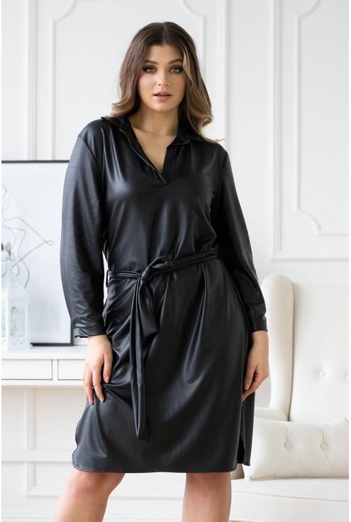czarna sukienka z eko skóry xxl plus size