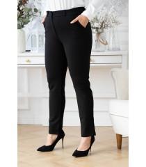Czarne eleganckie spodnie z gumką wszytą z boku pasa - Gabriella