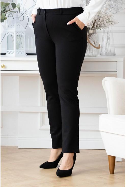czarne materiałowe spodnie plus size