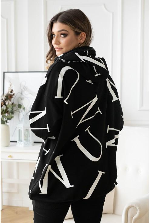 czarna bluza xxl w modny wzór