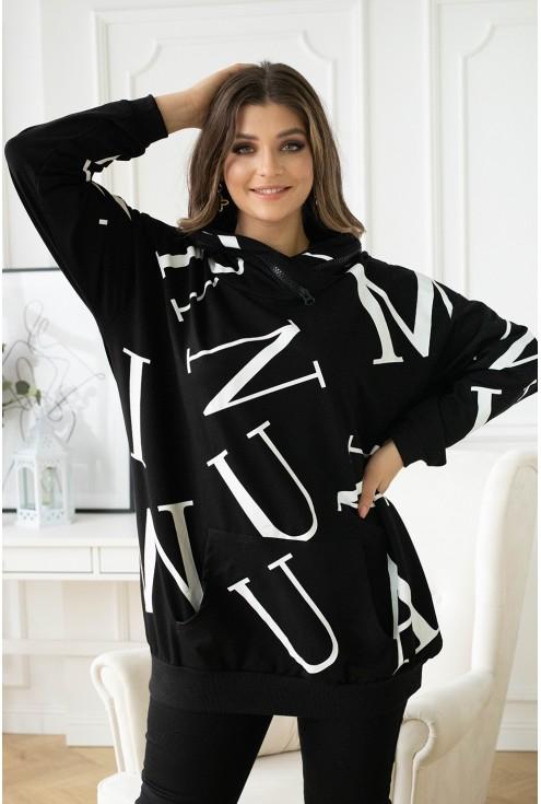 czarna bluza xxl z kapturem w białe litery