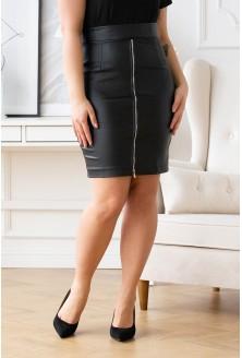 Czarna spódnica z eko skóry z suwakiem - LEANA