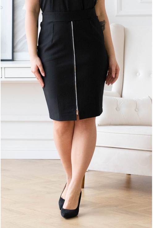czarna spódnica z suwakiem plus size