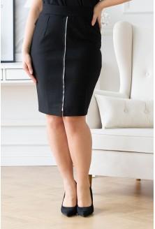 Czarna dzianinowa spódnica z suwakiem - ILANA
