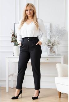 Czarne eleganckie spodnie z wyższym stanem - Gianna