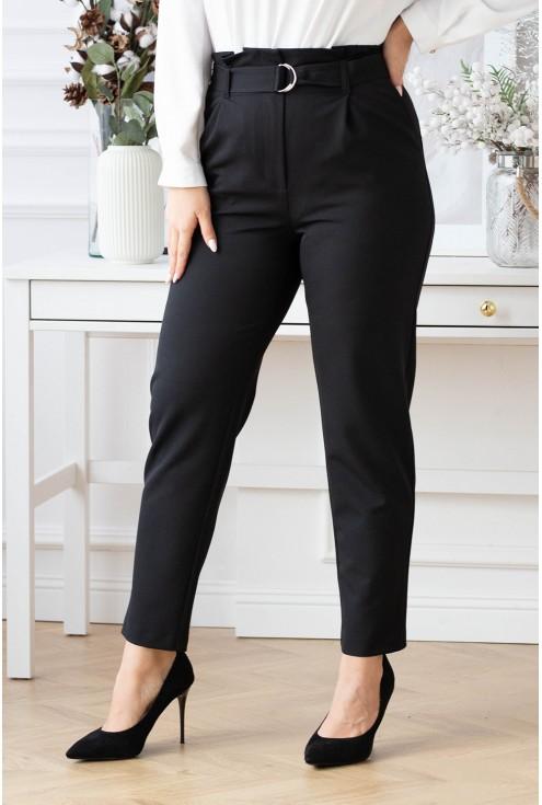 czarne materiałowe spodnie z wyższym stanem