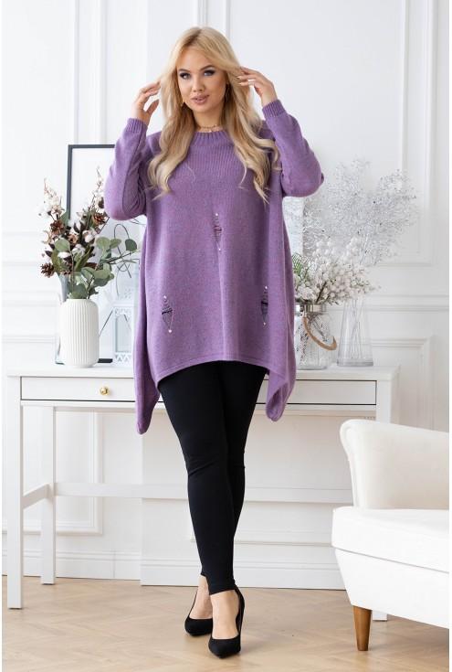Fioletowy sweterek z przetarciami i ćwiekami
