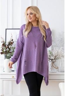 fioletowy melanż sweter z przetarciami