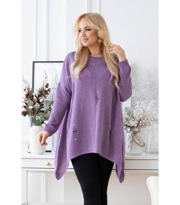 Fioletowy melanż sweterek z przetarciami i ćwiekami - MERLIN