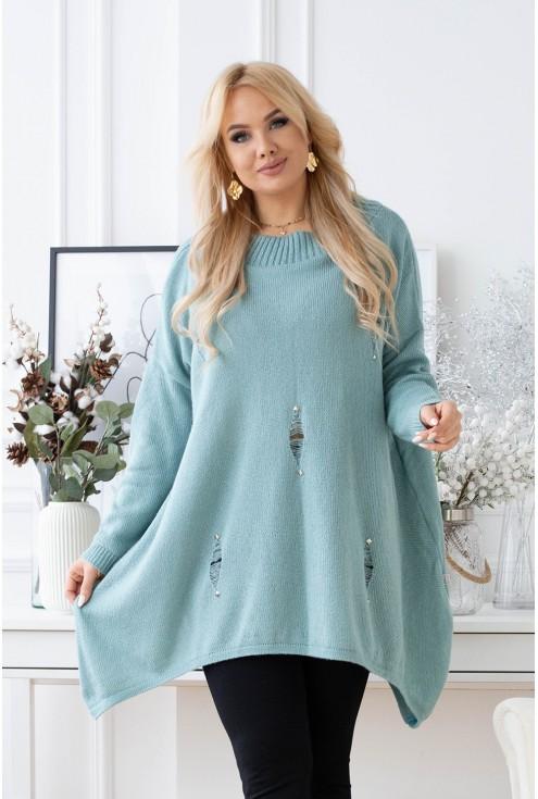 oversizowy sweter z przetarciami
