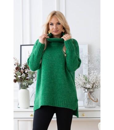 Zielony ciepły sweter-tunika z golfem ze ściągaczem - LESCA