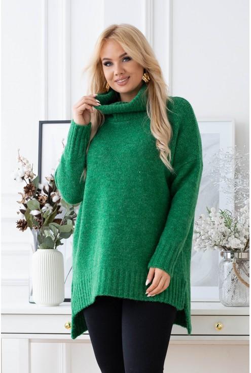 zielona tunika ze ściągaczem