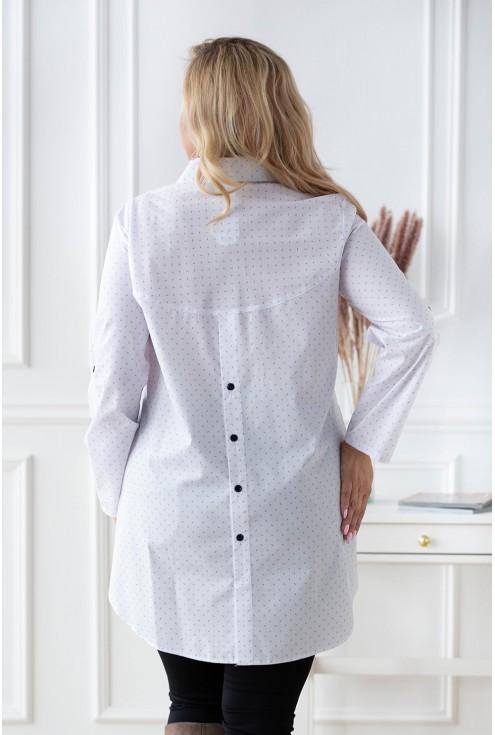 tył białej koszuli w modny wzór