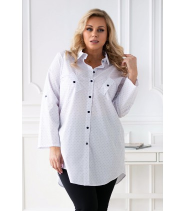 Biała koszula z granatowym wzorkiem z podwijanymi rękawami - SINDI