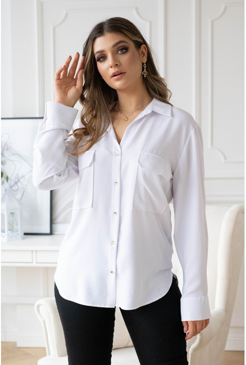 biała koszula xxl ze złotymi guzikami