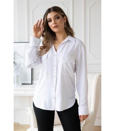 Biała koszula ze złotymi guziczkami z kieszonkami - MILIA