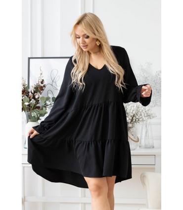 Czarna sukienka z falbaną - Christine