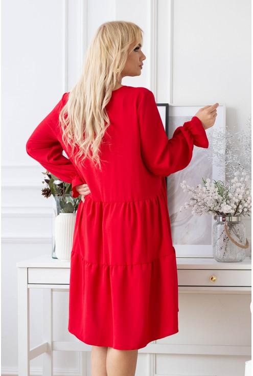 Czerwona sukienka z falbaną - Christine
