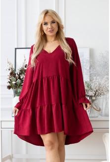 Bordowa sukienka xxl z falbanką