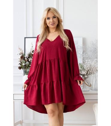 Bordowa sukienka z falbaną - Christine