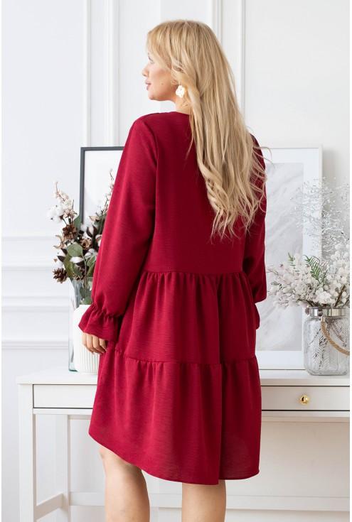 Bordowa sukienka z długim rękawem