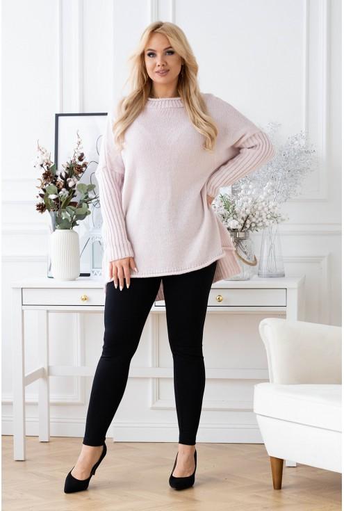 Różowy ciepły sweter plus size