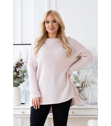 Pudrowo-różowy ciepły sweter-tunika z obniżoną linią ramion - DARCY