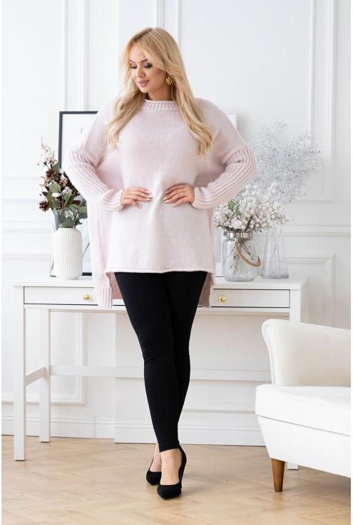 Jasno różowy sweter z dłuższym tyłem