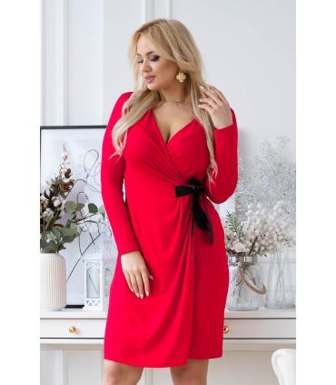 Kopertowa czerwona sukienka z wiązaniem w talii - MANUELA