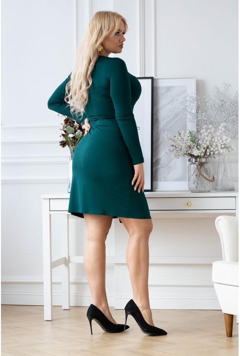 butelkowa sukienka z wiązaniem w talii