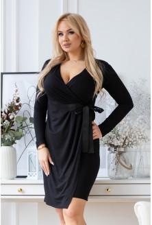 Kopertowa czarna sukienka z wiązaniem w talii - MANUELA