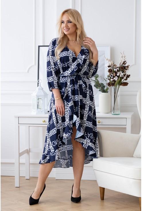 Granatowa asymetryczna sukienka w biało-czarne napisy - LILIANE