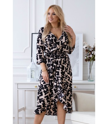 Beżowa asymetryczna sukienka z czarnym wzorem - LILIANE